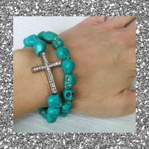 Chunky turquoise skull bracelet w/ crystal cross